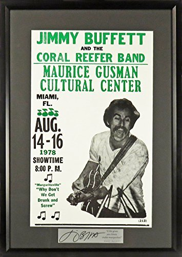 """Jimmy Buffett in Miami Concert Poster w/""""Make Margaritas!"""" Plate (SG Signature Engraved Plate Series) Framed"""
