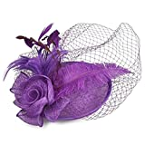 Women's Vintage Fascinators Hat Flower Mesh Ribbons Feathers with Clip for Wedding Bridal Headware Church Cocktail Party Headdress