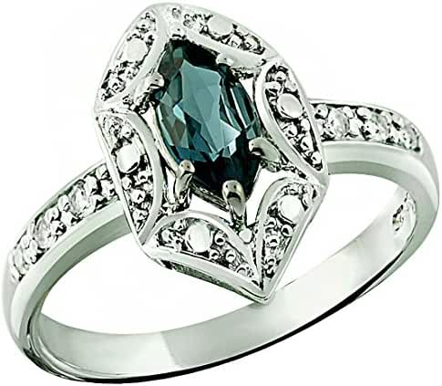 0.70 Carat London Blue Topaz with White Topaz Rhodium-Plated 925 Sterling Silver Ring