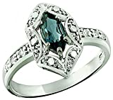 Sterling Silver 925 Ring GENUINE GEMSTONE Marquise Shape 0.70 Carat with Rhodium-Plated Finish (8, london-blue-topaz)