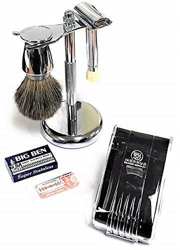 Wet Shave Set Pure Badger Shaving Brush Shave Stand Merkur #570 Safety Razor Double Edge Blades