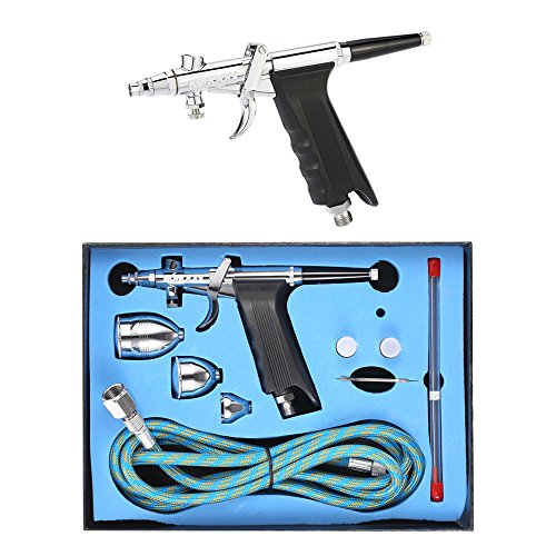 KKmoon Professional Double Action Multi-Purpose Gravity Feed Spray Gun Trigger Airbrush Set with Hose 3 Tips 3 Cups Spray Model Air Brush for Nail Tool Tattoo Art Painting (Trigger Airbrush Kit)