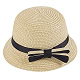 Kadola Straw Hat for Kids,Summer Bowknot Beach Sun Hats Travel Foldable Brim UV Protection Cap for Girls (Beige)
