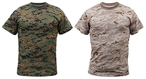 RTC Kids 2-PK Woodland & Desert Digital Camo Short Sleeve T-Shirts (Large (14-16)) by RTC