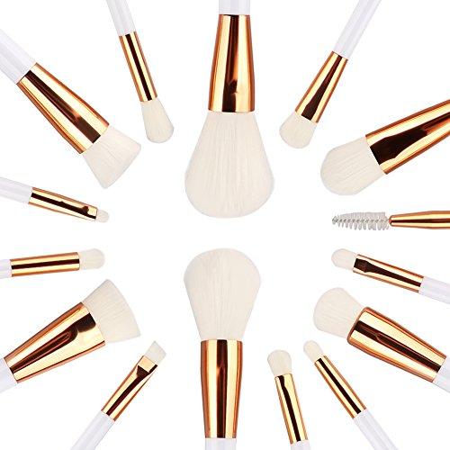 Summifit 15 Pcs Professional Makeup Brushes Set Powder Foundation Contour Blending Eyeshadow Eyeliner Bronzer Lip Brush Kit (White Rose Gold)