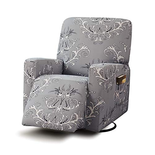 TIKAMI Recliner Slipcovers Stretch Printed Chair Covers with Side Pocket Washable Lazy Boy Furniture Protector(Gray Print)