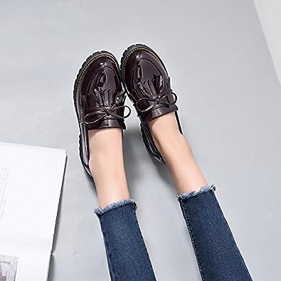 LEIT Talon Épais Femmes Chaussures Fines à Tête Ronde Tassel,Black,39