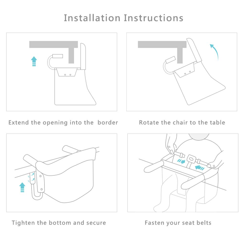 MIWORM Fast Hook On Table Chair,Tight Fixing Clip on Baby or Toddler High Chair,Kids Removable Seat Portable Foldable Dining Table Chairs Red