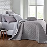 BrylaneHome Studio Reversible Quilted Bedspread (Gray Silver,Queen)