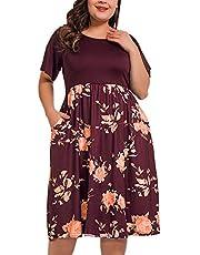 NUONITA Women's Plus Size Dresses Round Neck Floral Print Dress Pockets