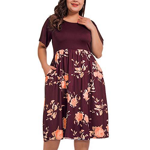 NUONITA Women's Plus Size Dresses Round Neck Floral Print Dress with Pockets(18W) Wine -