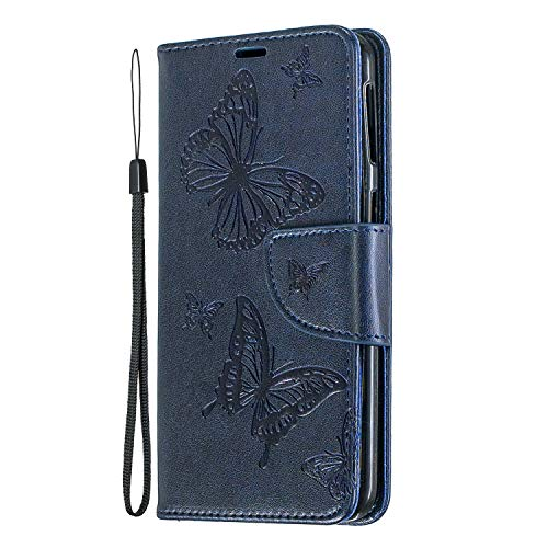 Price comparison product image Samsung Galaxy A40 Case,  Lomogo Leather Wallet Case with Kickstand Card Holder Shockproof Flip Case Cover for Samsung Galaxy A40 - LOBFE140070 Blue