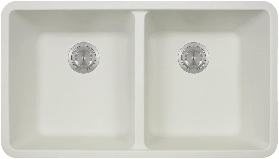 802 White Undermount Double Equal Bowl Quartz Kitchen Sink
