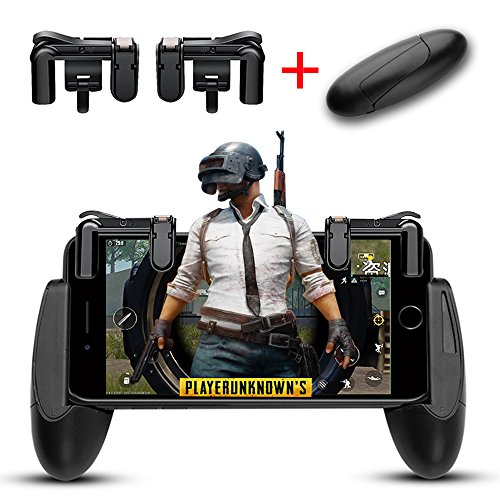 Lanyi Mobile Game Controller, 1 Pair Survival Game Triggers for Knives Out/PUBG/Rules of Survival and 1 Pair Mobile Game Controller for 4.5-6.5inch Android IOS (5 Button Set)