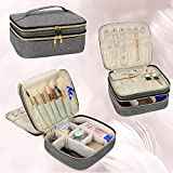 Luxja Travel Case for Jewelry and Makeup, Double-layer Makeup Train Case with Compartment for Jewelry and Other Beauty Supplies, Gray