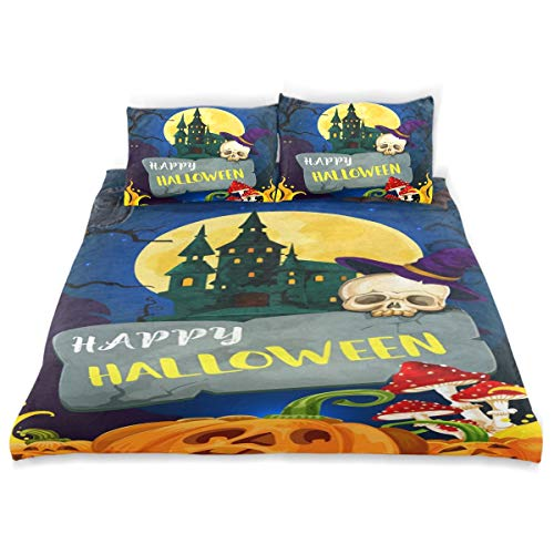 CANCAKA Happy Duvet Cover Set Happy Halloween Greeting Card Cartoon Monsters Design Bedding Decoration Twin XL Size 3 PC Sets 1 Duvets Covers with 2 Pillowcase Microfiber Bedding Set Bedroom Decor Ac -