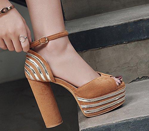 Chic Semelle Fille Aisun Femme Brun Evénement Epaise Sandales Plateforme 12cm xUwTw