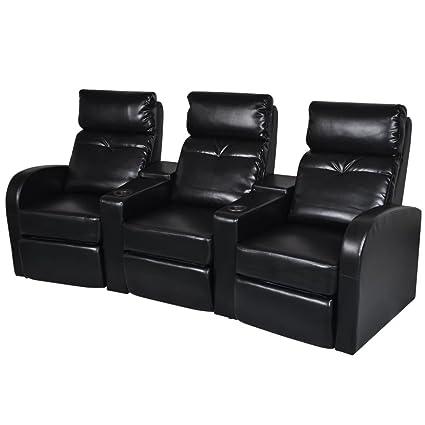 Amazon.com: 3-seat Reclining Chair Office Chair Black ...