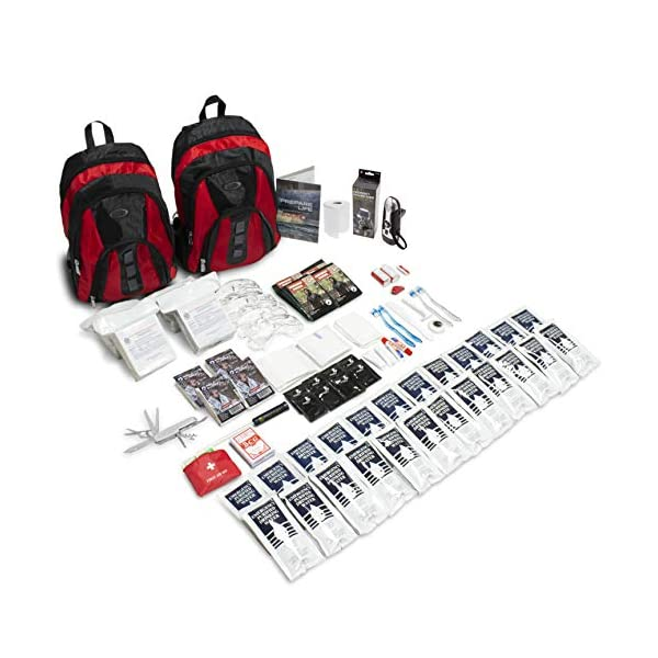 Emergency Zone The Essentials Complete Deluxe Survival 72-Hour Kit, Prepare Your Family for Hurricanes, Earthquakes, FLOODS, Emergency Disaster Go Bag- Available in 2 & 4 Person, Red or Black Bag