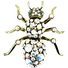 Clear Crystal on Gold Plated Spider Brooch