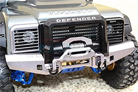 GPM Traxxas TRX-4 Trail Defender Crawler Upgrade Parts Aluminium Front Bumper with D-Rings - 1 Set Black