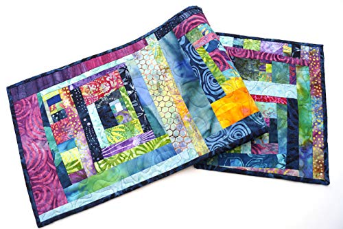 Batik Fabric Quilted Table Runner in Colorful Patchwork (Hand Batik Cotton Table Runner)