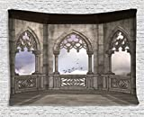 Gothic Decor Ambesonne Gothic Decor Collection, Medieval Stone Balcony with Curvings Graphic Design Mystic Middle Age Legend Story Print, Bedroom Living Room Dorm Wall Hanging Tapestry, 80W X 60L Inch, Grey Purple