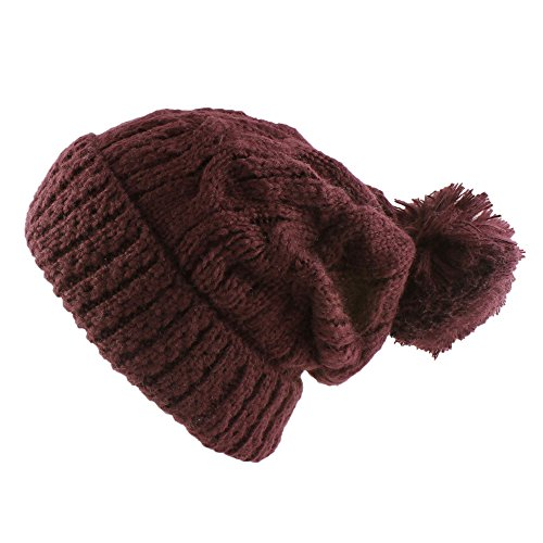 Morehats Large Pom Pom Soft Crochet Thick Knit Slouchy Beanie Winter Ski Hat - Burgundy