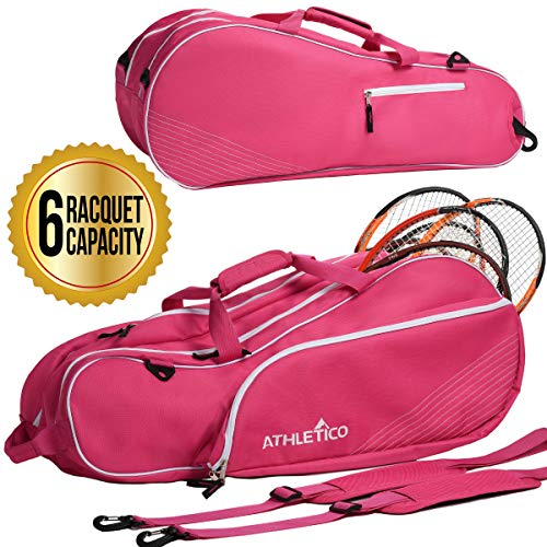 Athletico 6 Racquet Tennis Bag | Padded to Protect Rackets & Lightweight | Professional or Beginner Tennis Players | Unisex Design for Men, Women, Youth and Adults (Pink)