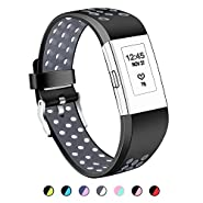For Fitbit Charge 2 Bands, Hotodeal Silicone Adjustable Replacement Wristbands, Breathable Sports Fitness Strap, With Air Holes, Two Tone Accessory Band For Charge 2 HR, No Tracker