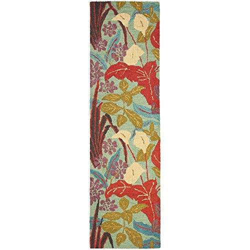 lection BLM674A Handmade Blue and Multi Premium Wool Runner (2'3