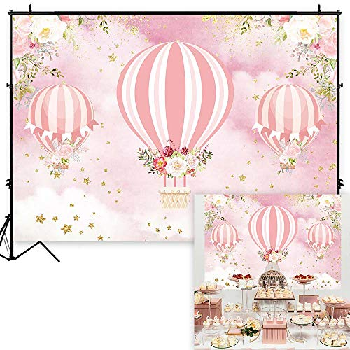Funnytree 7x5ft Pink Floral Hot Air Balloon Party Backdrop Up Up and Away Adventure Girl Baby Shower Birthday Photography Background Glitter Flowers Cake Table Decorations Banner Photo Booth -