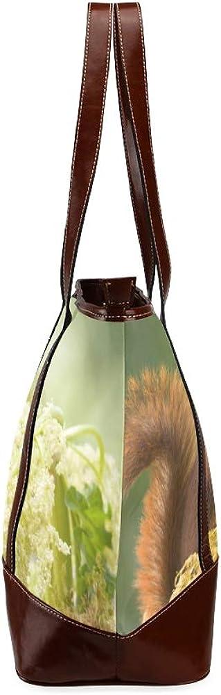 Tote Bags Red Squirrel Standing Rhubarb Flower Travel Totes Bag Fashion Handbags Shopping Zippered Tote For Women Waterproof Handbag