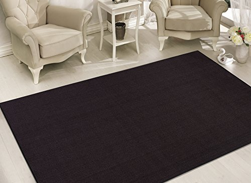 Sweet Home Stores Clifton Collection Solid Design Rubberback Area Rug, Black