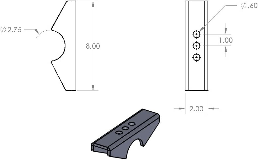 2.5 Wide Spring 2.75 Tube Ruffstuff Specialties Universal Leaf Spring Perch Pads for Axle Housing
