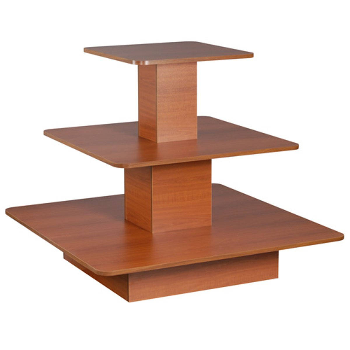 Rolling 3 Tier Display Table Square Boutique Clothing Store Fixture Cherry New