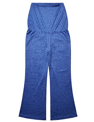 Bhome Women's Fold Over Waist Stretch Yoga Pants Boot Cut Flare Leg Workout Maternity Leggings Navy Blue L by Bhome (Image #5)