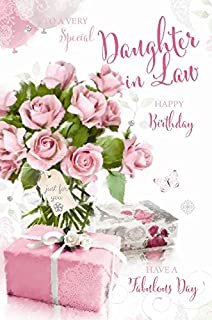 Special Daughter In Law Happy Birthday Roses Presents Butterfly Design Greeting Card