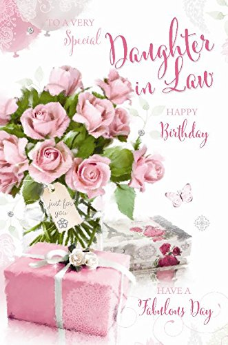 Special Daughter In Law Happy Birthday Roses Presents Butterfly Design Greeting Card Amazoncouk Kitchen Home