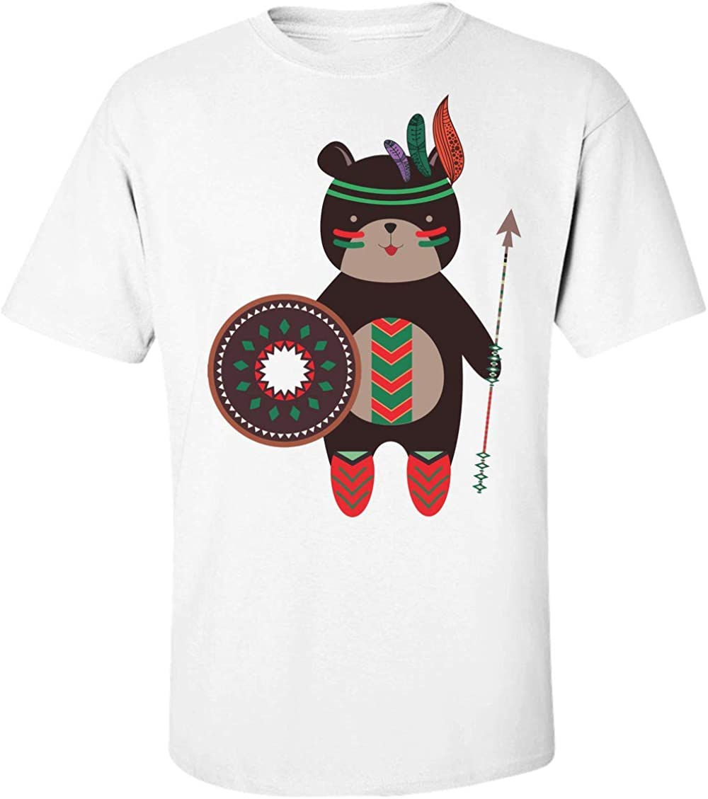 Finest Prints Tribal Bear with A Feather Crown and Arrows Camiseta para Hombre XX-Large: Amazon.es: Ropa y accesorios