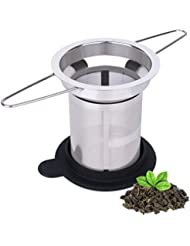 Extra Fine Mesh Loose Leaf Tea Infuser by House Again, Long Handled 18/8 Stainless Steel Filter for Infusing Steeping Loose Tea, Large