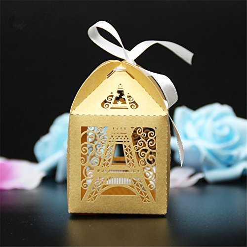 Hoxekle 50 pcs Eiffel Tower Wedding Box Pairs Tower Candy Bo