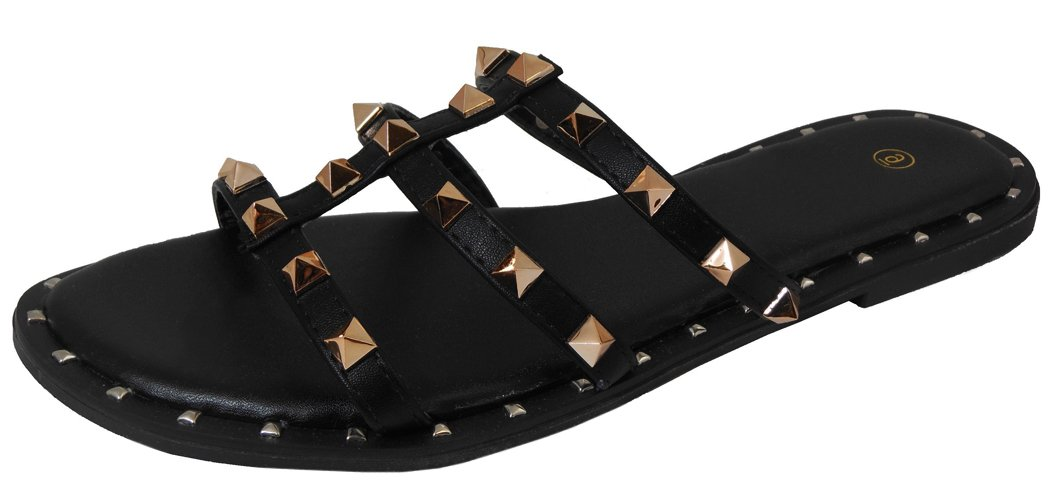 Cambridge Select Women's Open Toe Strappy Caged Cutout Pyramid Studded Slip-On Flat Slide Sandal,11 B(M) US,Black PU