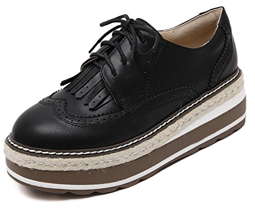 Solid Brogue Black Stylish Thick Fringe Aisun Women's Color Sneakers Fall Sole Fqtwx0xO
