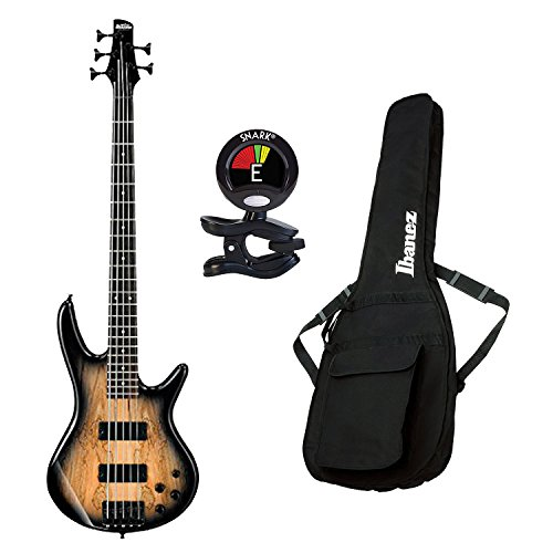 Ibanez GSR206SM 6-String Electric Bass Guitar in Natural Gray Burst With Ibanez IBB101 Gig Bag for Electric Guitar in Black And Snark SN5X Clip-On Tuner for Guitar, Bass & Violin