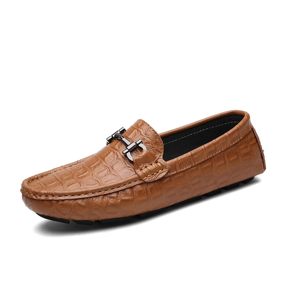 Gobling Casual Driving Loafer for Men, Fashion Oxfords with Metal Buckle Flat Dress Shoes Comfortable Penny Non-Slip Boat Shoes (Color : Brown, Size : 7 M US)