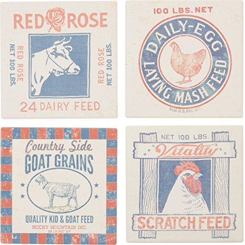 Feed Snack Prints Chicken Rooster Cow Drink Absorbent Coasters (Moose Murphy)