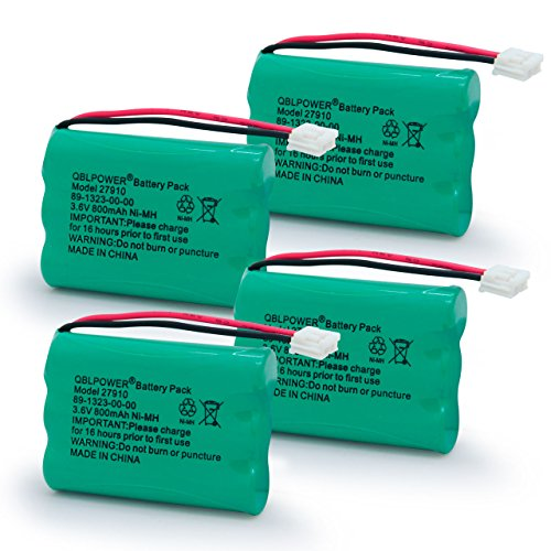 QBLPOWER 27910 Cordless Phone Battery Rechargeable Compatible with Vtech 89-1323-00-00 AT&T E1112 E2801 TL72108 Motorola SD-7501 RadioShack 23-959 Cordless Handsets 3.6V(Pack of 4) (Battery Pack 89 1323 00 00 Model 27910)