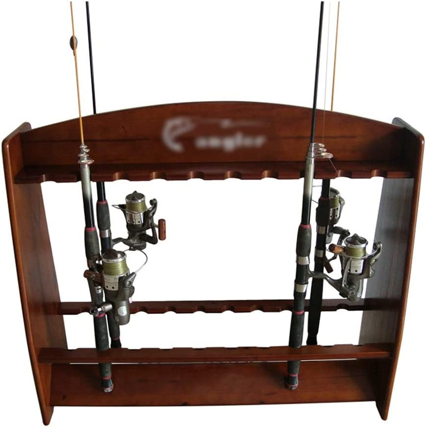 Amazon Com Rod Racks Fishing Pole Holder 20 Holes Fishing Solid Wood Fishing Raf Wooden Fishing Rod Display Stand Household Fishing Raft Pool Cues Fishing Rod Holder Home Kitchen