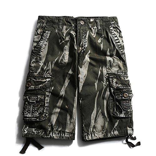 OCHENTA Men's Cotton Casual Multi Pockets Camo Cargo Shorts #3230 Army Green camo 29